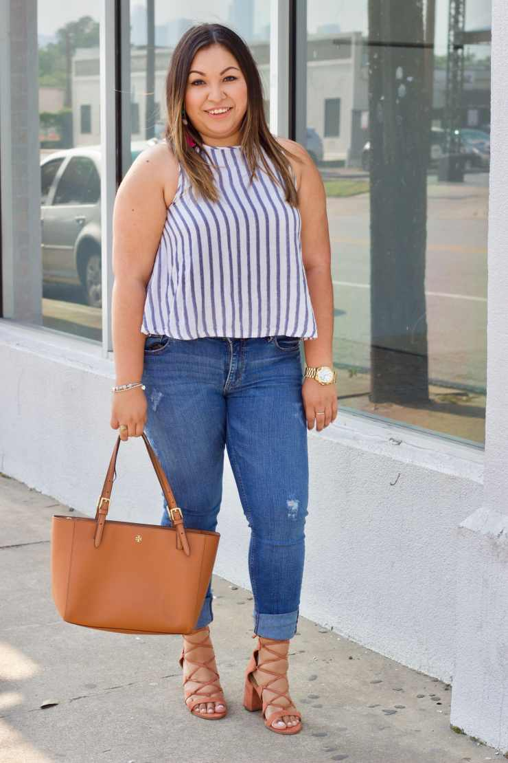 easy summer outfit, cute spring outfit, stripes top, zara jeans