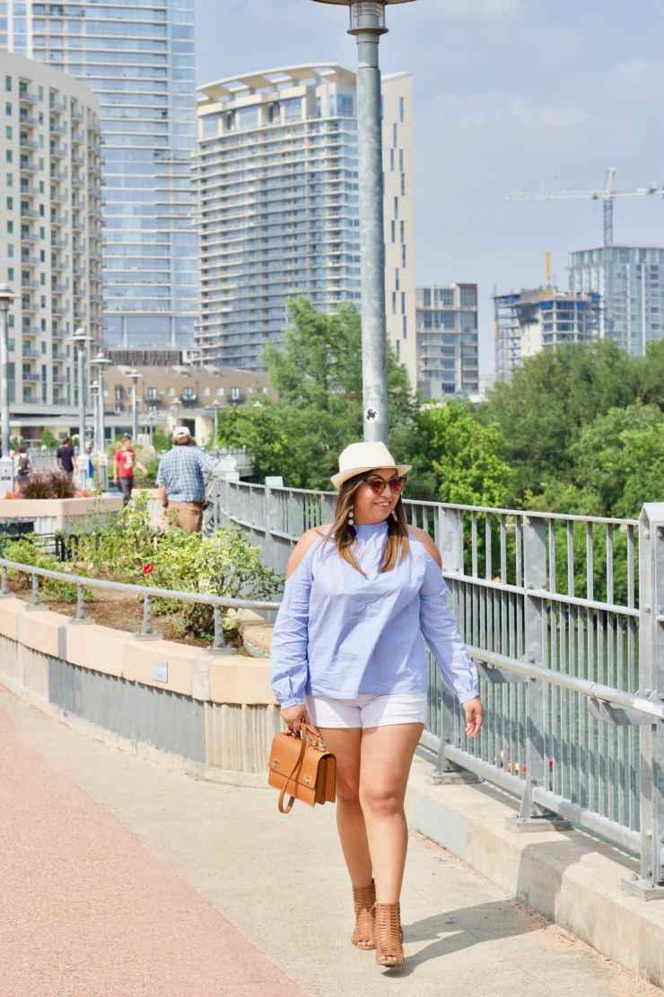 summer outfit, outfits, cute outfits, open shoulder top, white shorts, cognac shoes