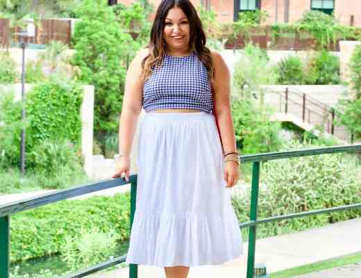 4th of july outfit, white skirt, gingham, red white and blue outfit
