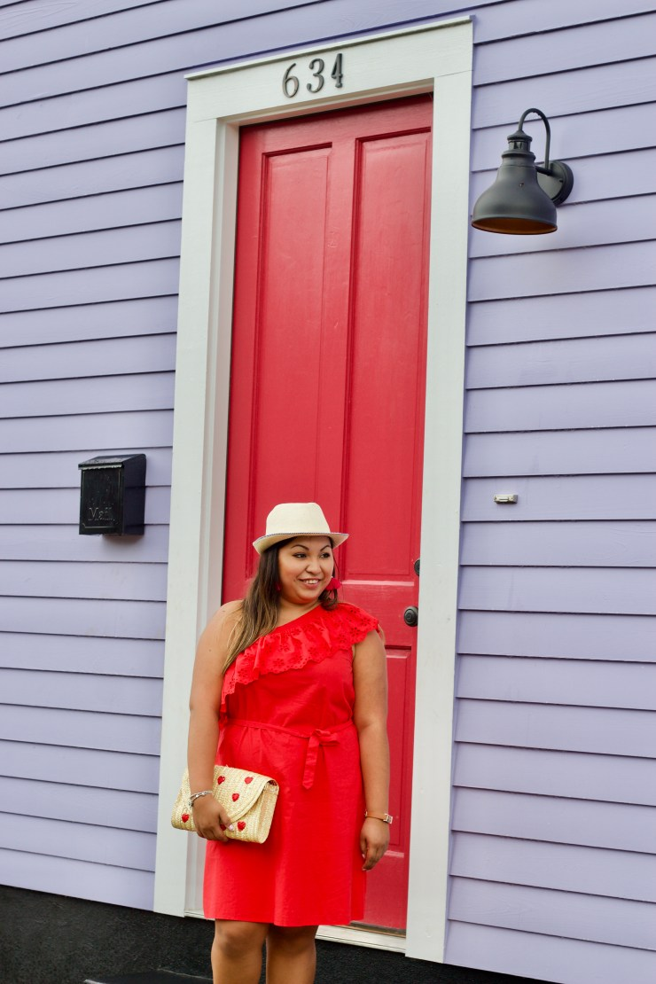 red dress, red dress for the summer, one shoulder dress, colorful houses in new orleans, colorful houses, new orleans