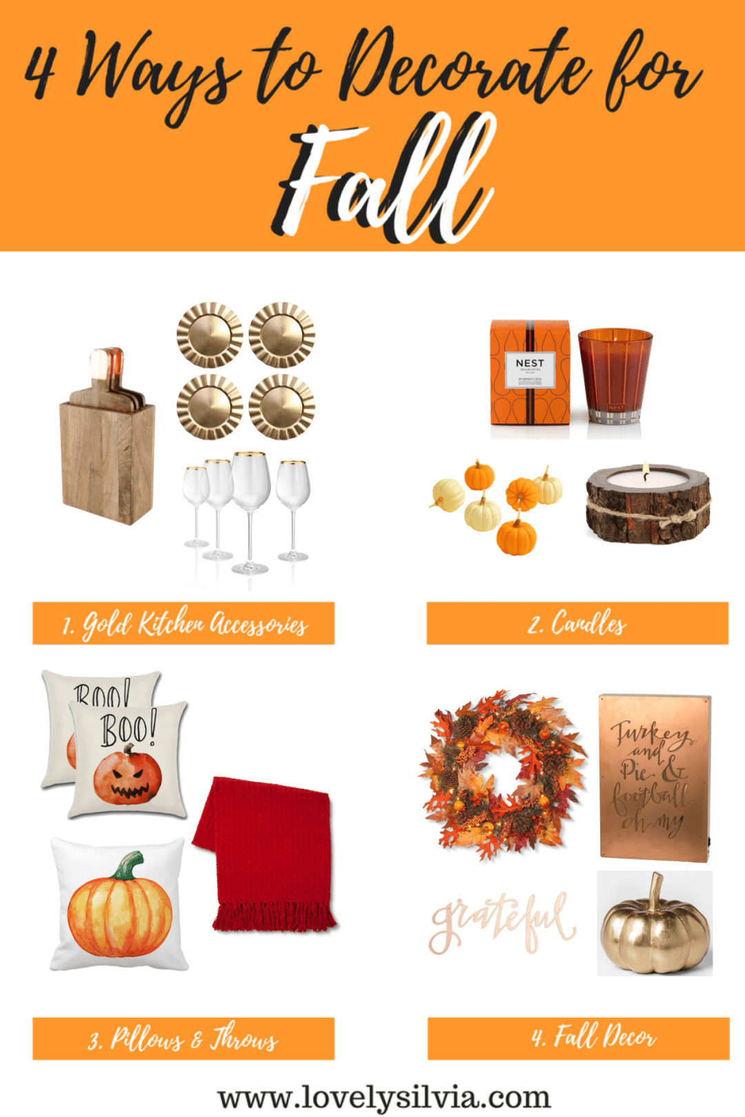 ways to decorate for fall, 4 ways to decorate for fall, fall kitchen accessories, fall candles, fall pillows and throws, fall decor, home decor for fall, fall home decorating