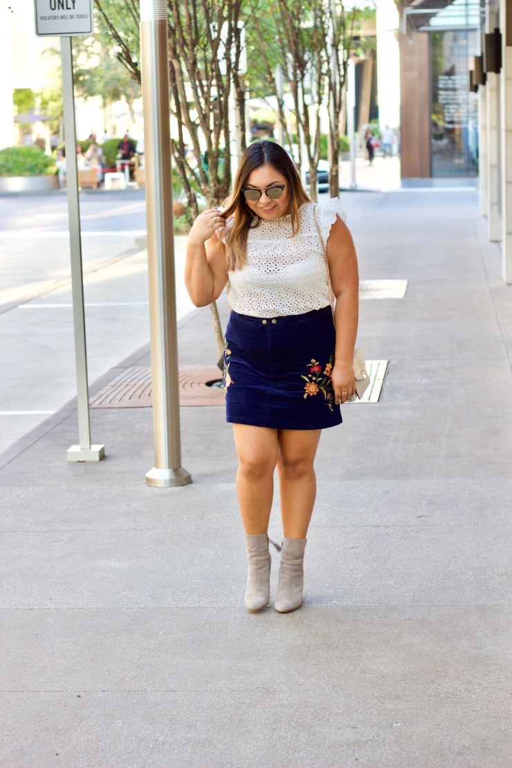 corduroy skirt, booties, fall outfit, corduroy, cat sunglasses, corduroy outfit, white top, grey booties, corduroy skirt and booties, skirts for fall, embroidered skirt for fall, embroidered corduroy skirt
