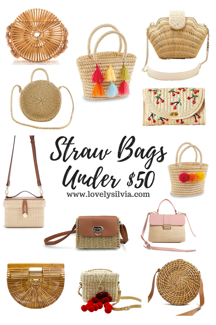 straw bags, bags for the summer, summer bags, spring bags, round straw bag, pom pom straw bag, bags under $50
