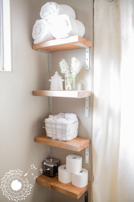 DIY spa inspired bathroom shelving {www.lovelyweeds.com}