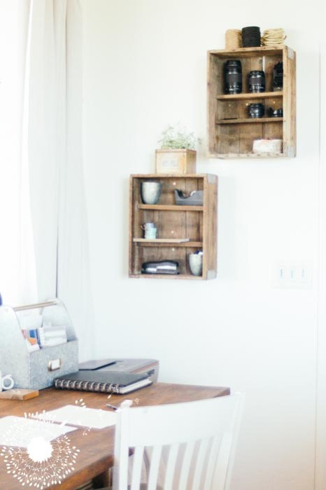 Old crate office storage {www.lovelyweeds.com}