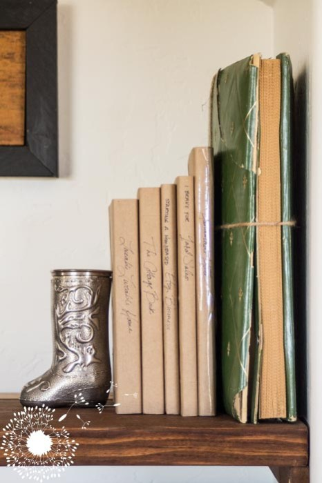 Paper covered books look streamlined and tidy on display {www.lovelyweeds.com}