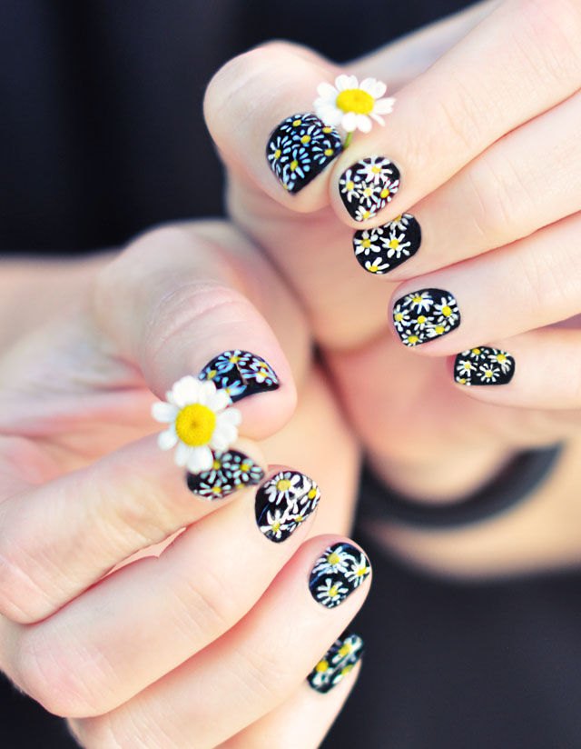 DIY Daisy Nails Tutorial on a Classic Black Manicure