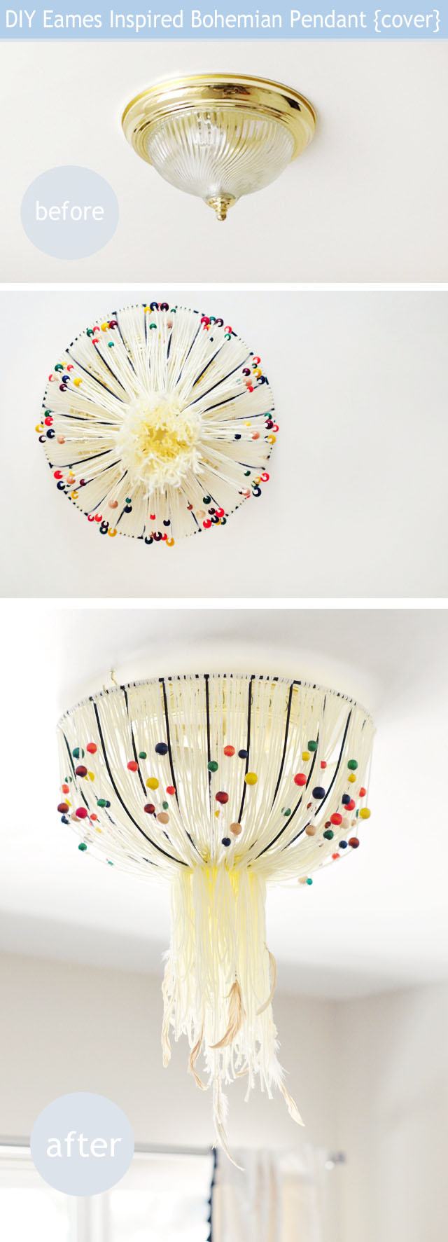 DIY Eames Inspired Bohemian Pendant Lamp {Cover} w/out