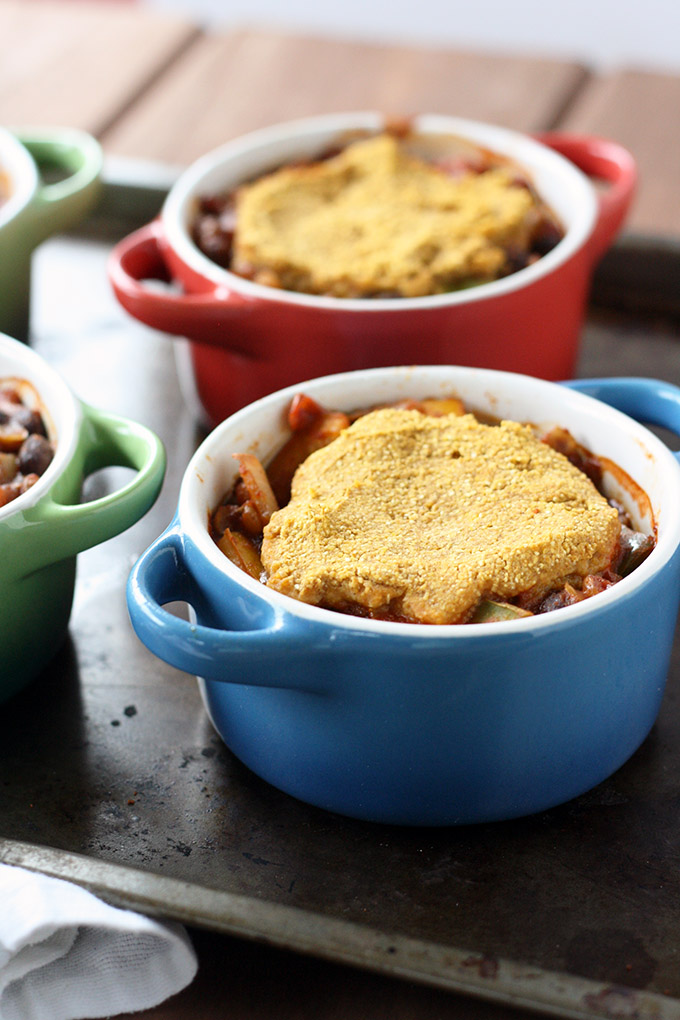 Lentil Chili Pot Pie - A veggie-packed chili baked with a cornbread topping