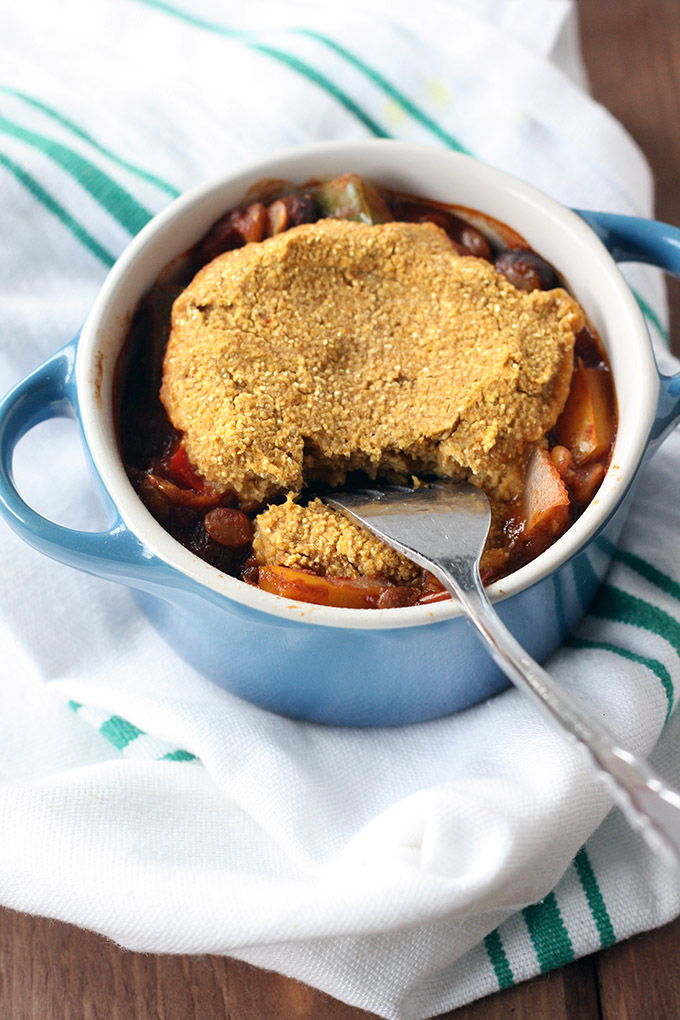 Lentil Chili Pot Pie - Chili baked with a pumpkin cornbread topping