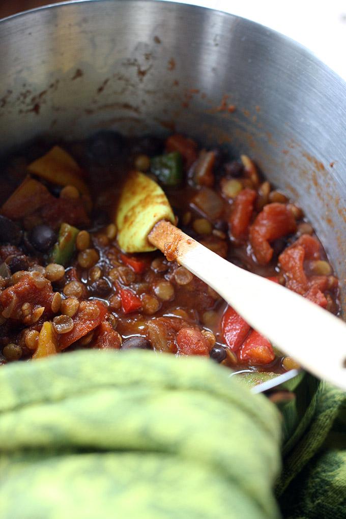 Lentil Chili and Cornbread Pot Pie