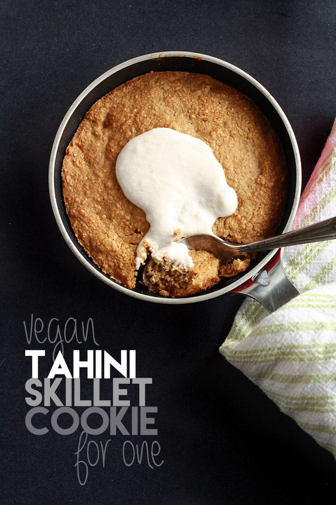 Vegan Tahini Skillet Cookie for One topped with a banana coconut cream - Full of wholesome ingredients, simple to make, and so tasty! | love me, feed me