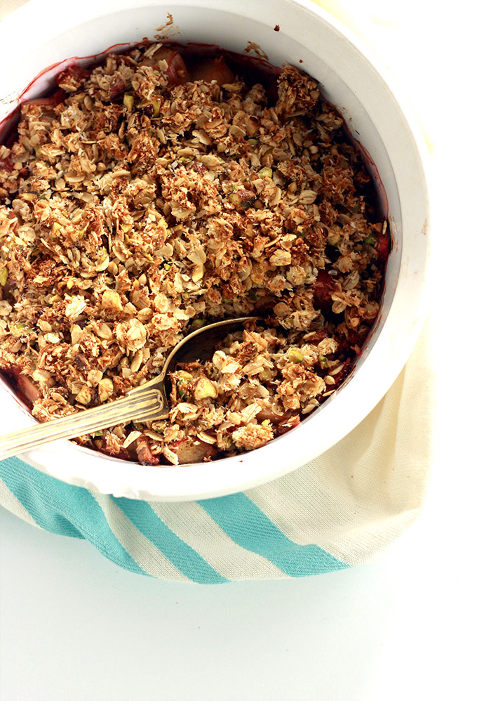 Vegan Lime Strawberry Rhubarb Crisp with coconut pistachio topping | love me, feed me