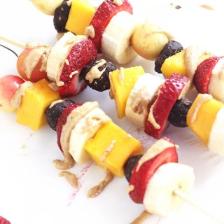 No Bake Brownie Fruit Kabobs with Toasted Coconut Cashew Butter