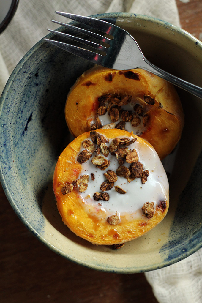 roasted peach with ginger coconut cream | love me, feed me