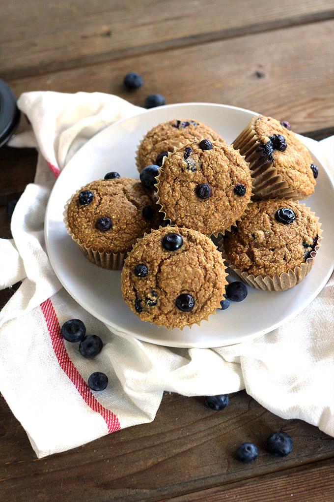 Lemon Blueberry Cornmeal Muffins (Oil-Free)