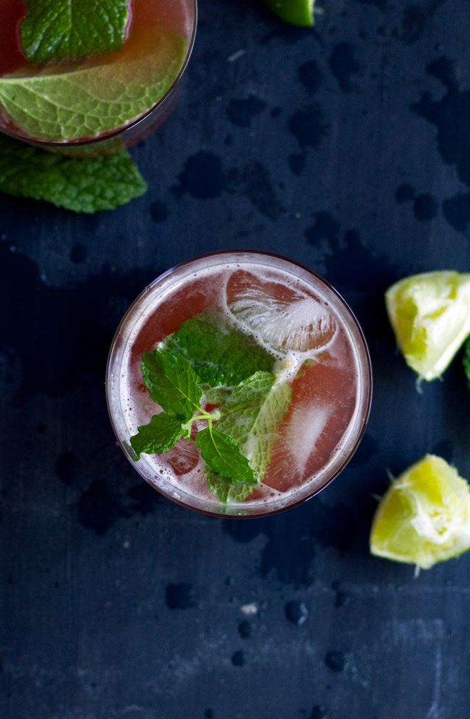ginger rhubarb mojitos with kombucha | love me, feed me