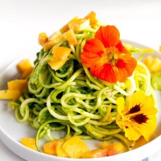 arugula pea pesto spiralized salad