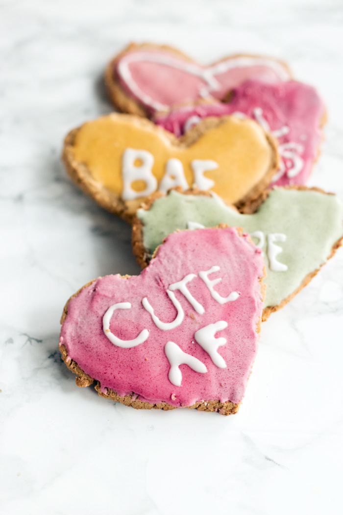vegan conversation heart cookies (gluten-free) | love me, feed me
