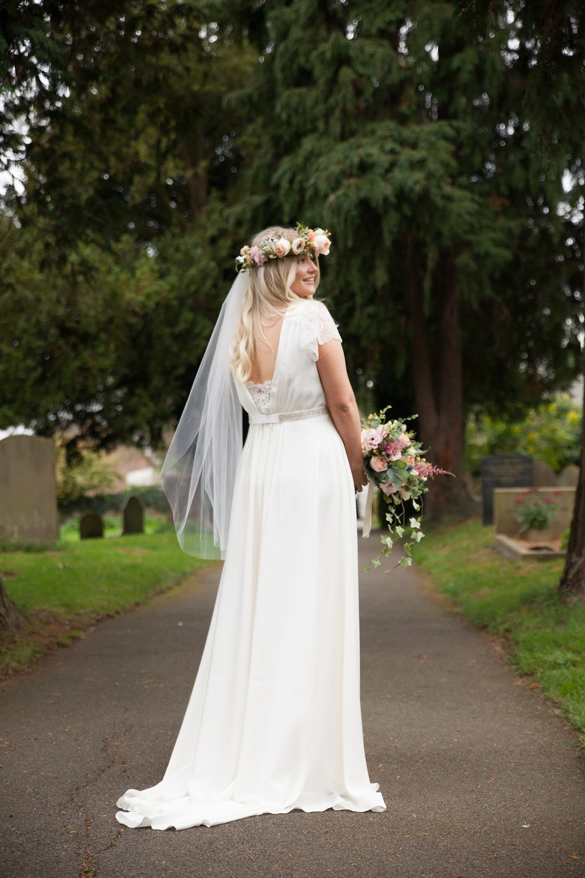 A Charlie Brear Bride Gown And Floral Crown For A Pretty