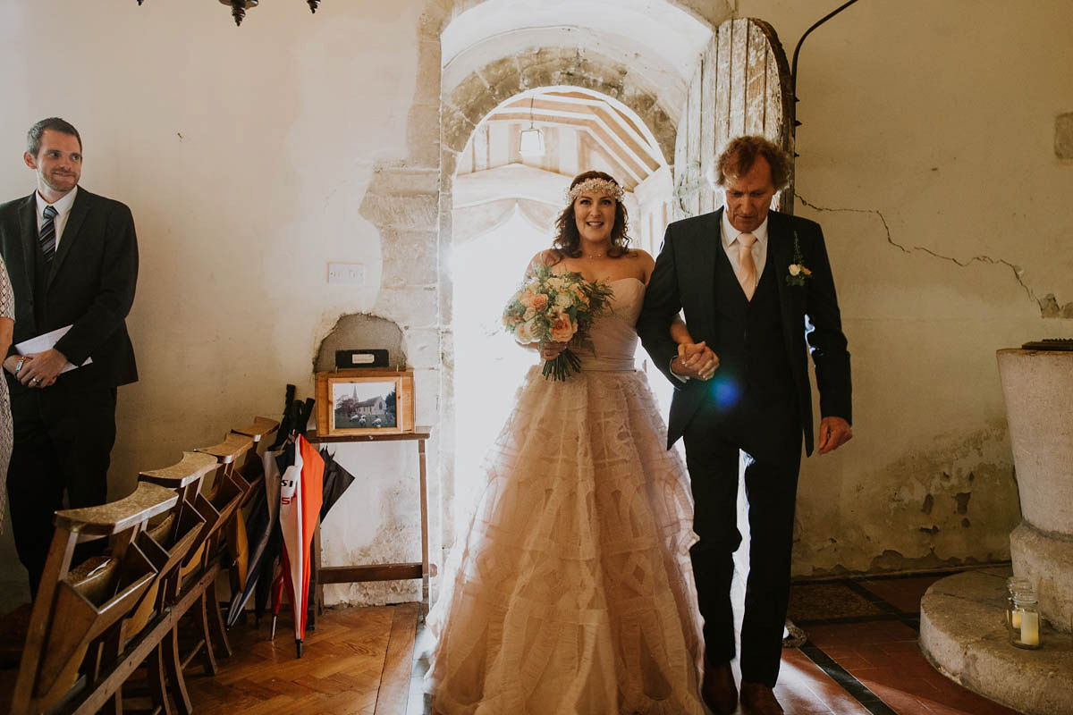 A Blush Pink Watters Wedding Dress And Laid Back Glamour