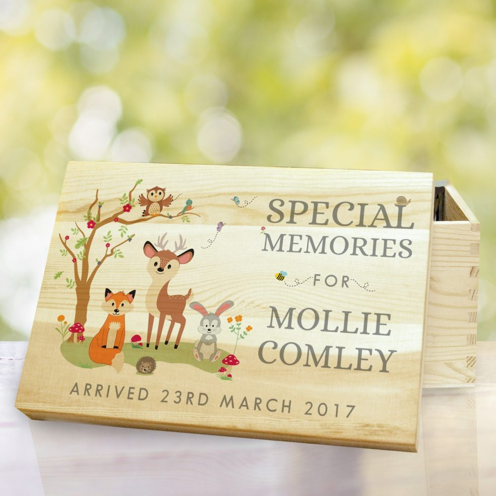 personalised woodland wooden memory