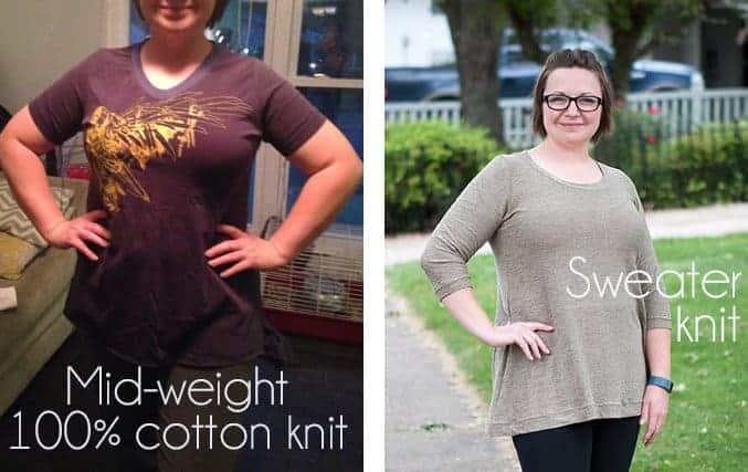 knit with drape vs. without drape