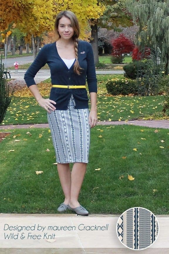Pencil Skirt in Maureen Cracknell's Woven Path Knit in Night
