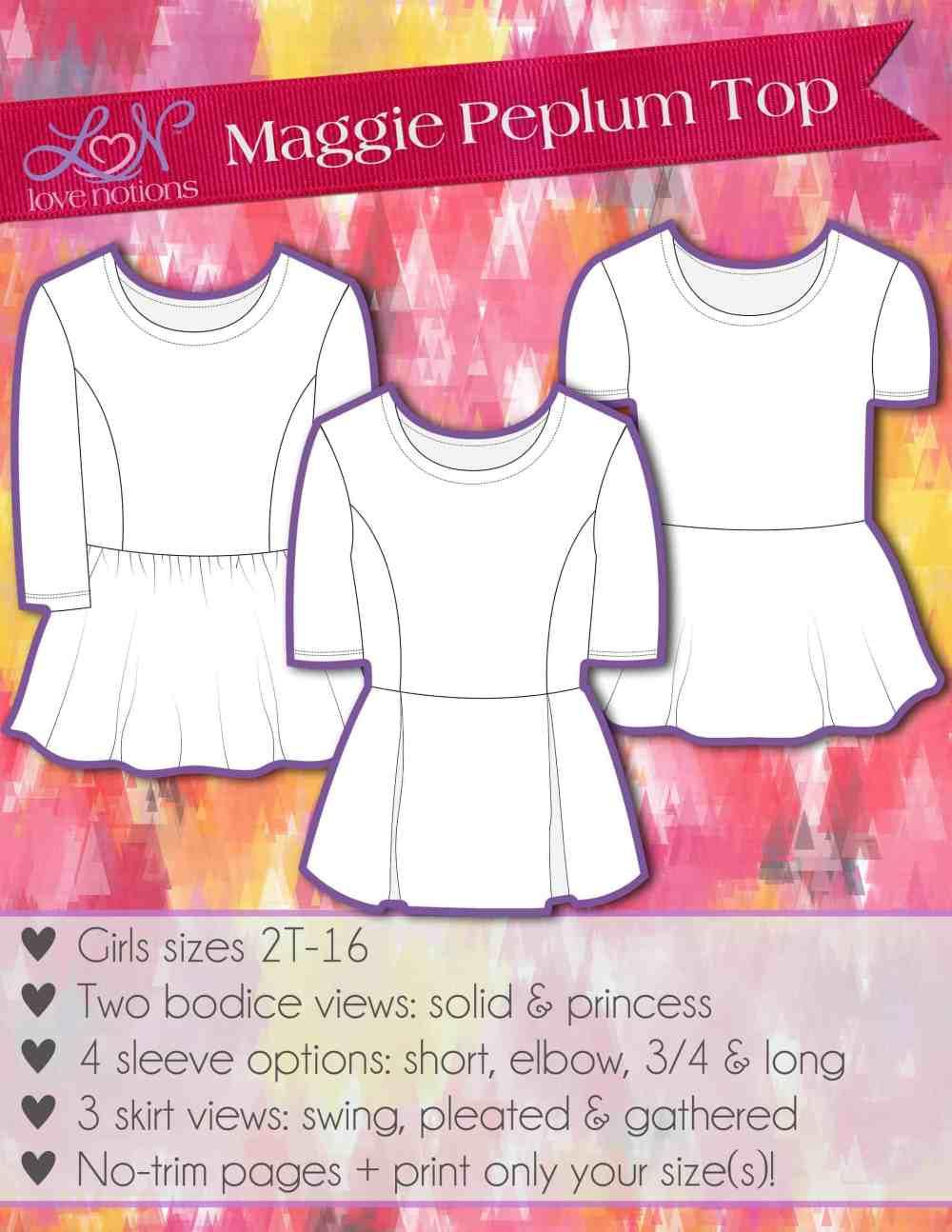 Girls peplum sewing pattern by Love Notions