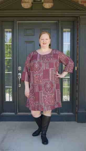 Cadence knee length dress with 3/4 sleeve