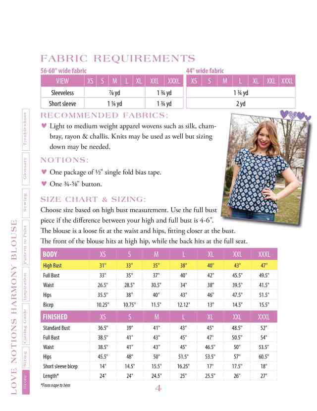 Harmony size chart and fabric requirements