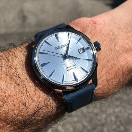 Ranch Racer's Seiko SRPB43 on matte blue leather strap