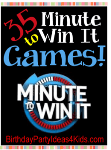Minute to Win it style party games for kids, tweens and teen parties