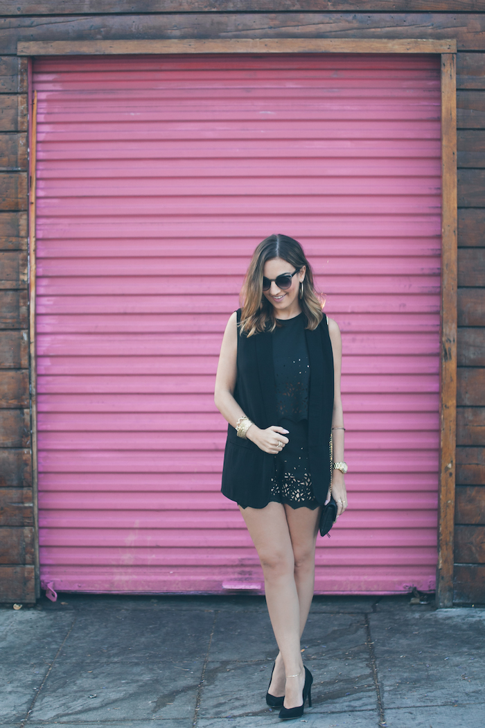 Black De Lacy Outfit Pink Wall