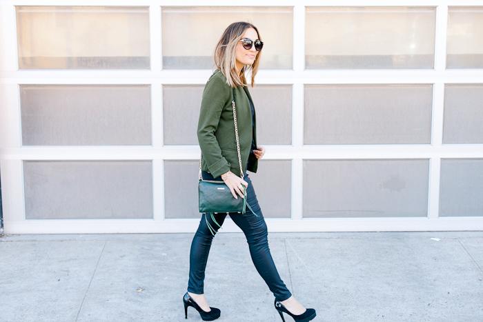 Target Olive Blazer Black Pants Outfit