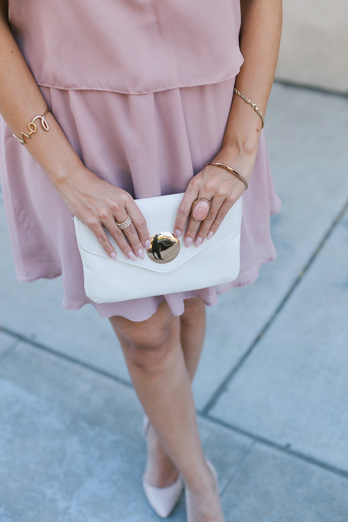white ASOS envelope clutch