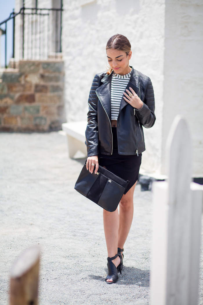 olia black leather jacket
