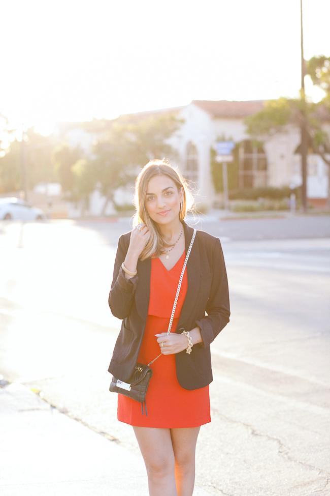 red dress black blazer
