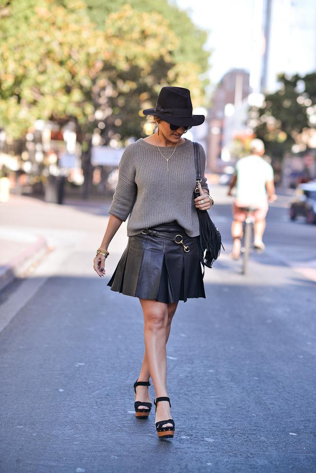 Ralph Lauren Pleated Leather skirt