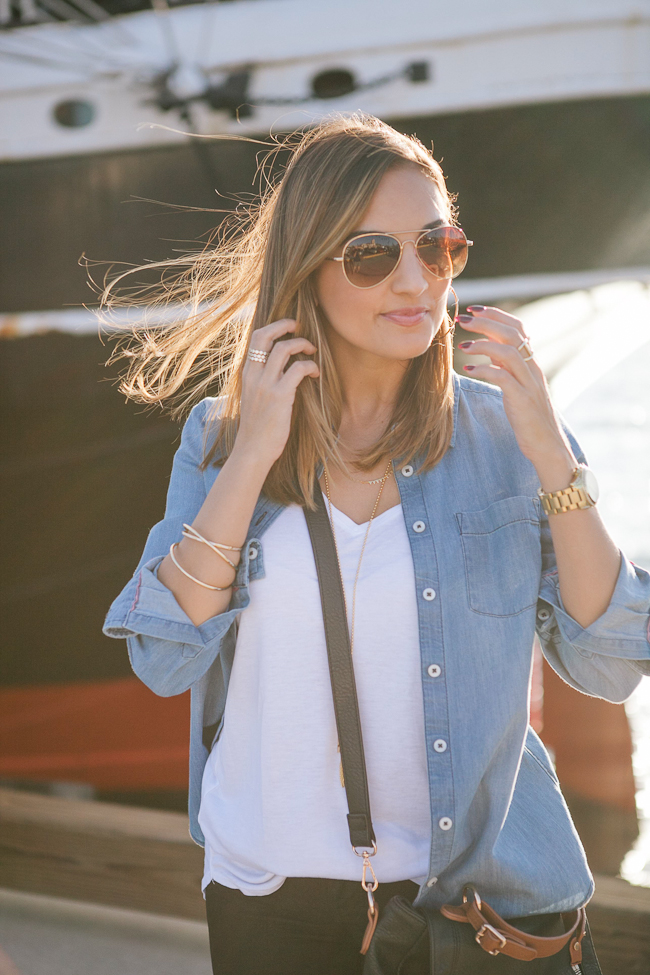 chambray open shirt