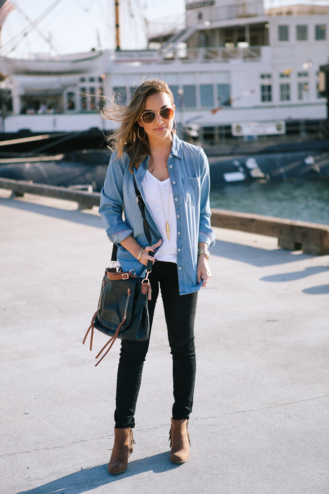 chambray shirt black jeans