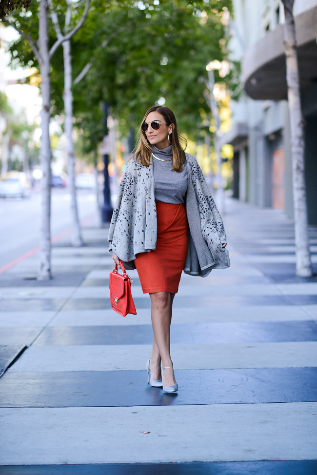 cabi red pencil skirt