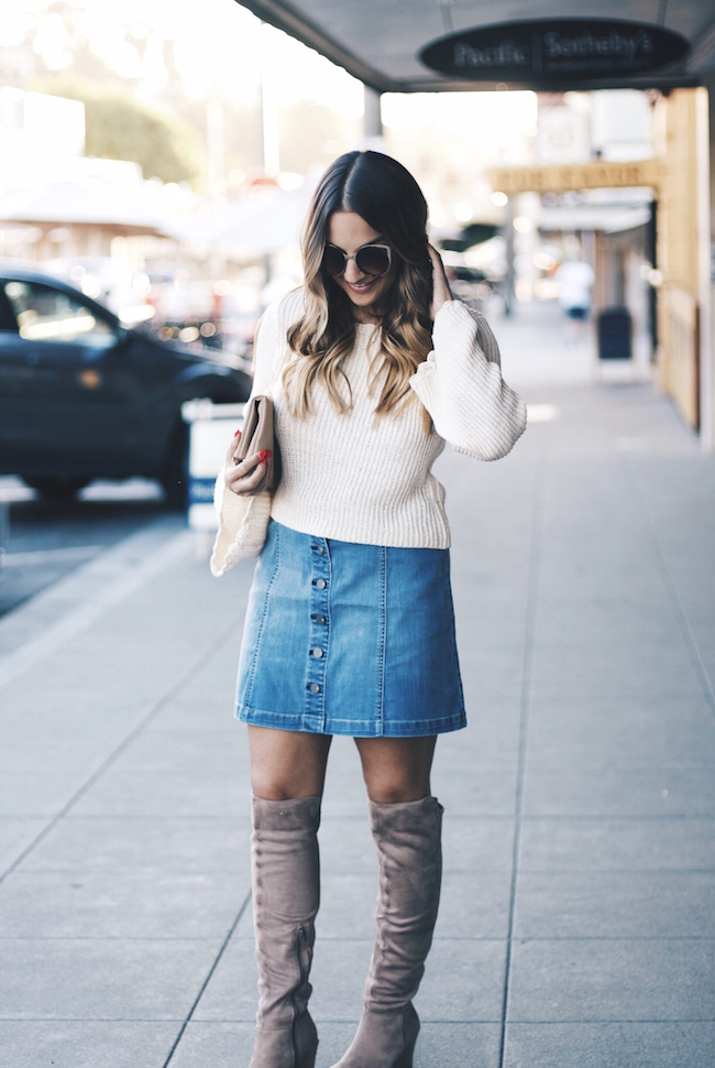 front button denim mini skirt