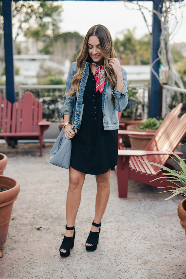 Forever 21 Denim Jacket Black Dress