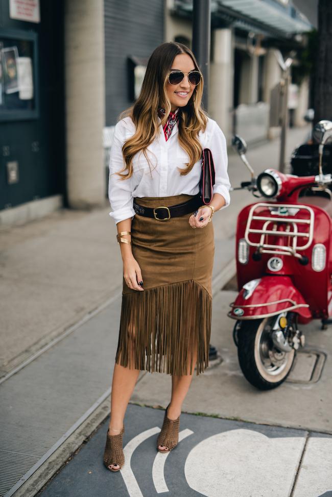 Tularosa Suede Fringe Skirt