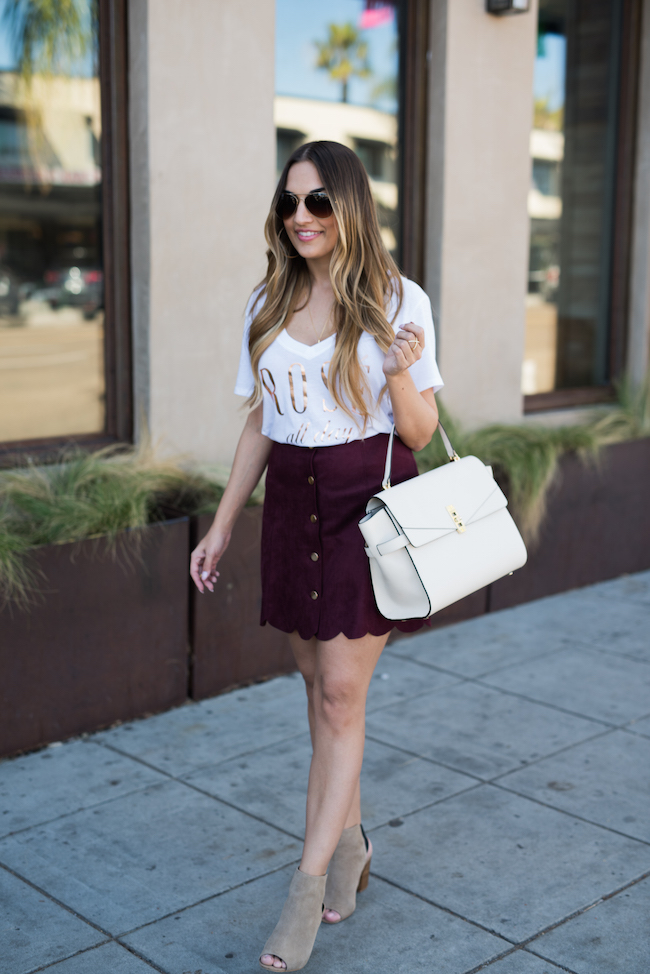 Burgundy Skirt Guess Outfit