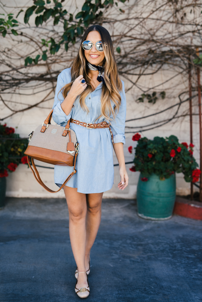Chambray Shirtdress Outfit With Bandana