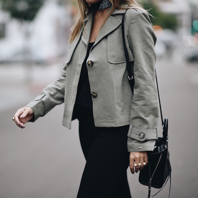Olive Cropped Tommy Jacket