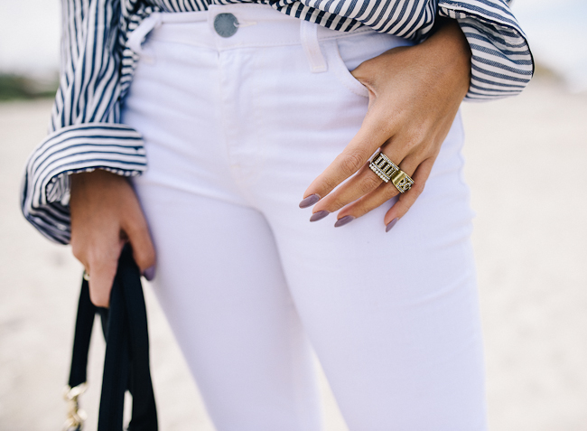 Stripe Button Down Boyfriend Blouse-7