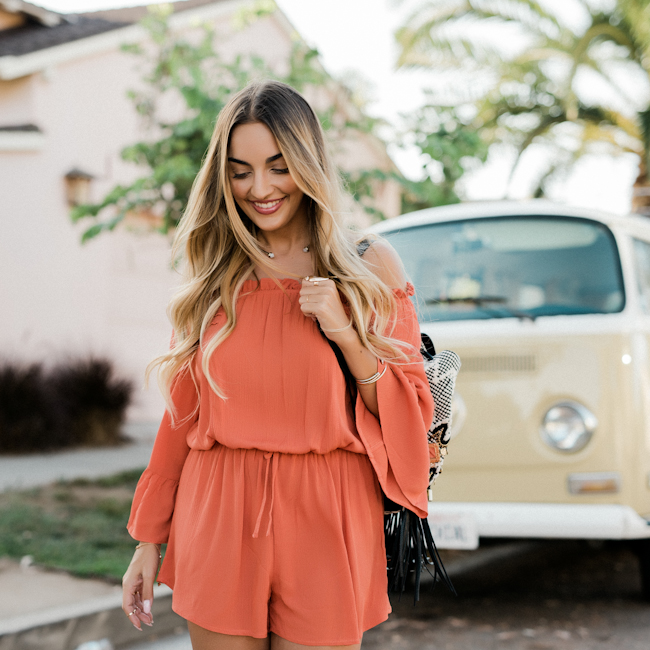 TOPSHOP Orange Romper